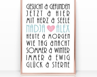 Wedding gift gift with name, food & drink, picture poster print, gift to wedding, gift idea, mural, anniversary, anniversary,
