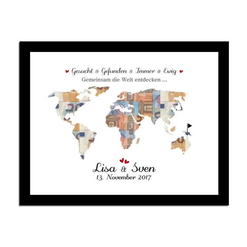 Money Gift for Wedding / Wedding Gift World Card Money Gift image 0