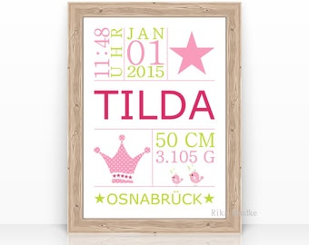 Birth Announcement, Baptism Gift, Name Picture, Child Picture, Poster, Birth Picture, Personalized, With Name, Gift Birth Baby, Crown, Star