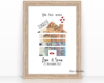 Money gift for the wedding House Wedding gift Gift personalized Names Bridal couple Gift idea Moving Birthday A4