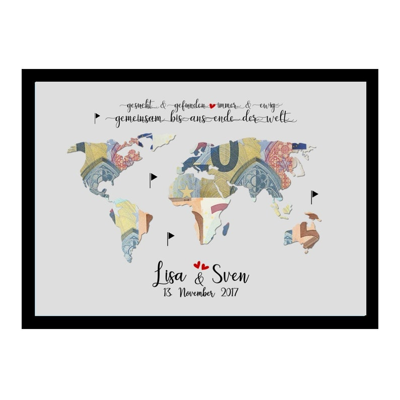 Money Gift for Wedding World Card with Name Personalized -ans Ende der Welt