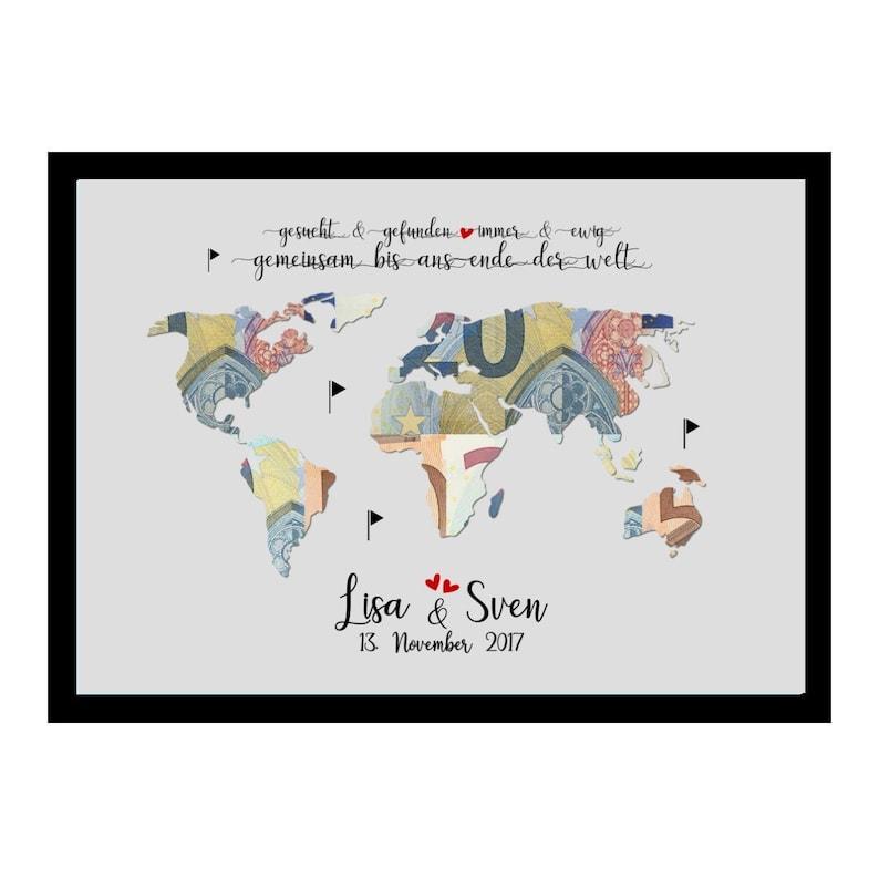 Wedding gift world map / money gift wedding / wedding gift / Grau