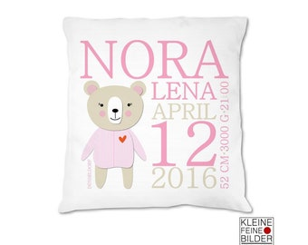 Baby pillow personalized with name, baby pillow for birth, with name, gift for birth, baptism gift, baptism gift, baby gift