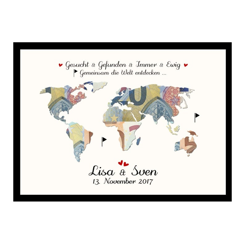 Gift for Wedding Wedding Gift Money Gift World Card Heart Name -die Welt entdecken