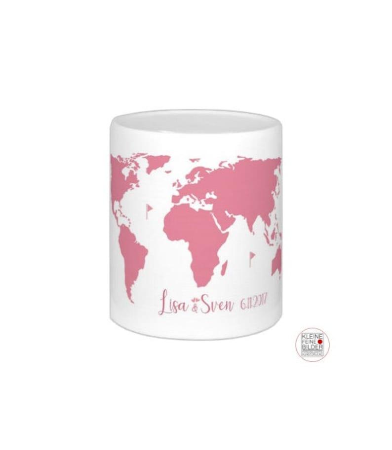 Wedding gift world card money box wedding gift personalized Pink