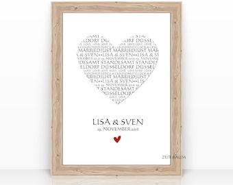 HEART wedding gift personalized, wedding gift, wedding picture, POSTER, print,wedding gift newlyweds,gift idea wedding