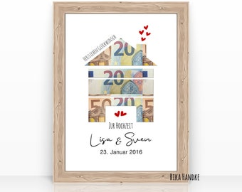 Gift Wedding Money Gift Wedding House House Heart Wedding Gift Personalized Gift Idea Moving Birthday A4 Natural White
