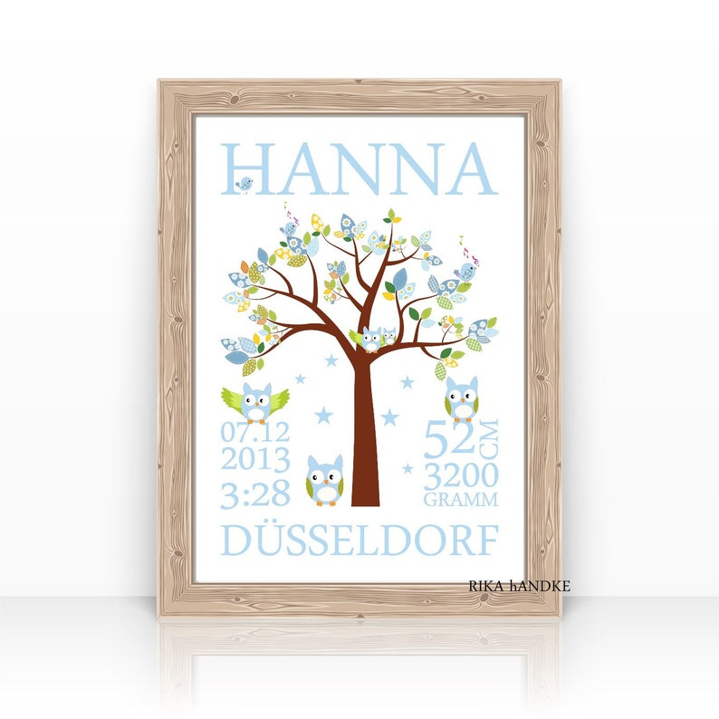 Personalized BABY Gift for Birth to Baptism TAUFGESCHENK Baby Blue