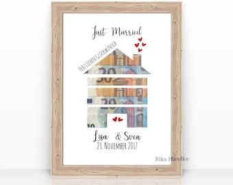 Gift Wedding Money Gift House Wedding Gift Gift Personalized Names Bridal Couple Gift Idea Move - without Frame