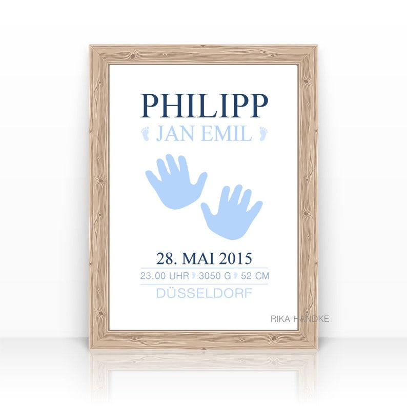 Personalized Birth Announcement Baptism Gift Print Birth dates Blue