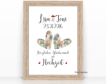 Money gift for the wedding Hearts personalized with name WEDDING GIFT Heart Gift Idea