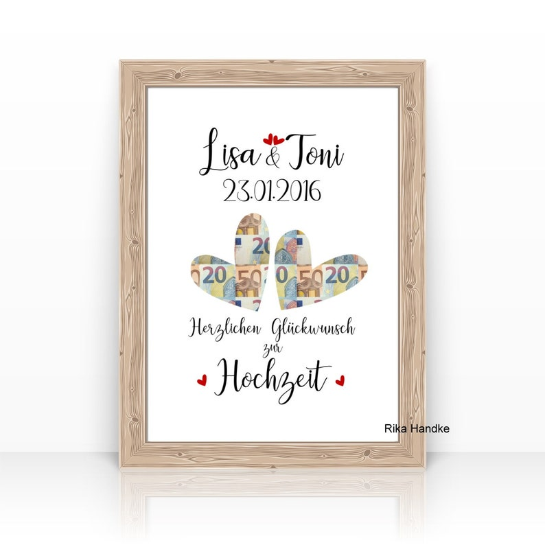 Money gift for the wedding Hearts personalized with name image 0