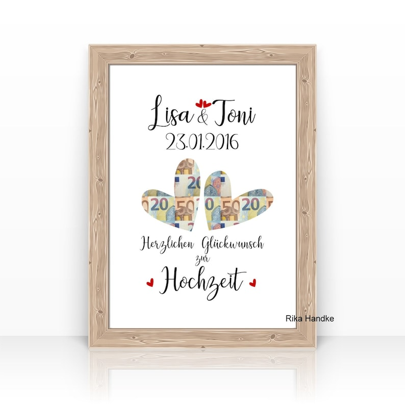 Money Gift to Wedding Hearts with Name Personalized HIGH TIME image 0
