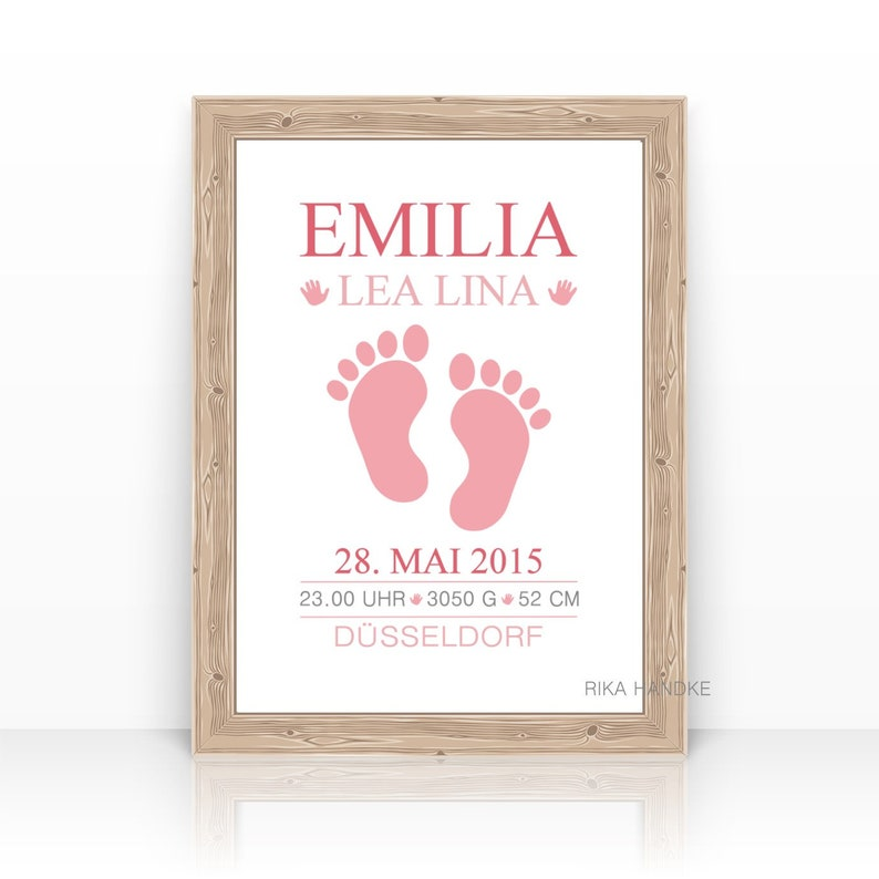 Personalized Birth Announcement Print Birth dates Birth Pink