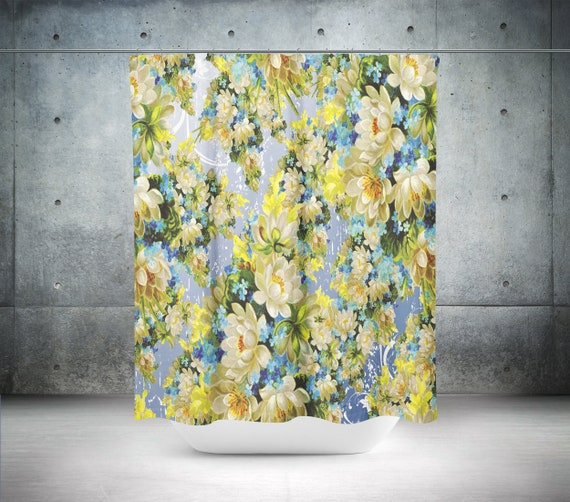 Yellow Flower Shower Curtain Yellow Shower Curtain Etsy