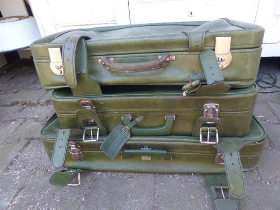 3 x green 70s suitcase