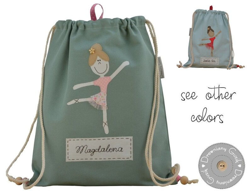Bag With Back Straps With Ballet Dancer You Can Choose An Option With Or Without Name Color Change On Request