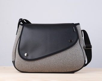 "Light and resistant bag, modern bag, original bag, bag for daily use, special bag, bag with lid, zipper bag, Bag ""Milan"" gray"