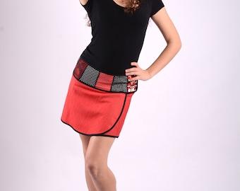 Selene ( red) Wraparound Miniskirt denim