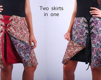 Kate (Paisley) Wraparound Skirt reversible