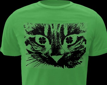 1c33d3fb9 St Cattys day, St Pattys day, St Patricks day, cat, cats eyes, cat eyes,  shamrock, shamrocks, cats, kitten, kitty, green, tee shirt, Cattys