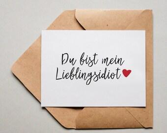 """Postkarte Liebe /""""Lieblingsgedanke/"""" Schöner Spruch"""