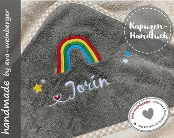 U-stitch sleeve with name rainbow for boy and girl made of felt in many colors customizable baby gift for baptism or birth