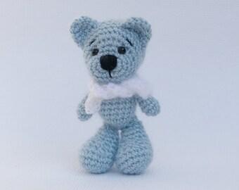 blaumelierte  Mütze und Schal Teddy Bär oder Puppe  handgestrickt beige Teddys