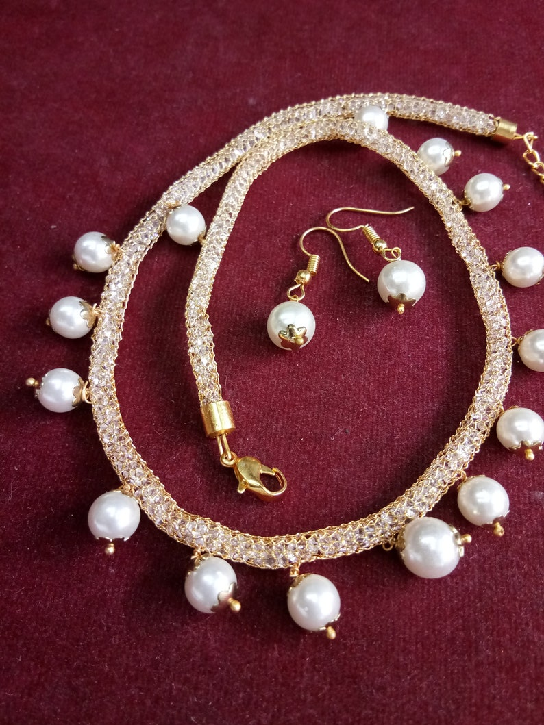 533f2539a 2 piece set Pearl Moti necklace with earring long necklace