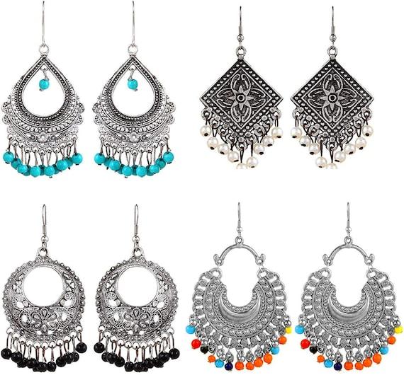 ZIKU JEWELRY Long AFGANI Bohemian Tribal Oxidized Silver Beaded Drop Earring for Women /& Girls
