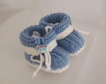 Babypuppen & Zubehör Handmade Schühchen Für Puppen blau-Weiß neu