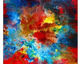 Acryl Gemälde /'FRAU AKT ROT/'HANDGEMALTLeinwand Bilder 80x80cm
