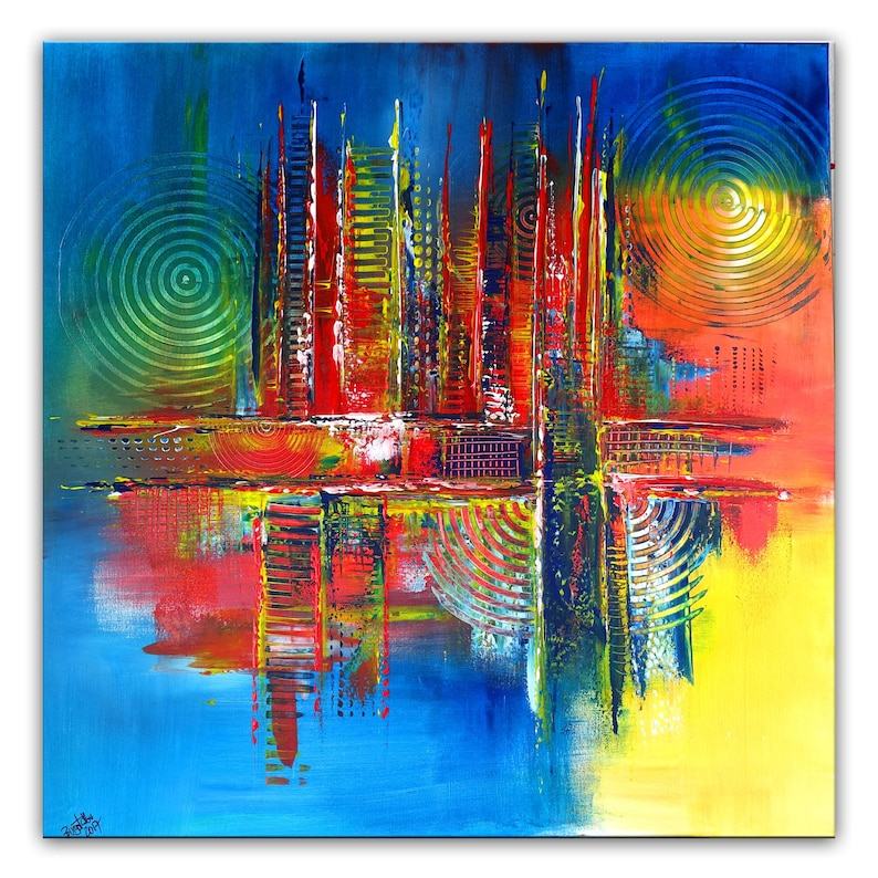 Art Photo Skyline Peinture Abstraite Art Abstrait Peinture Etsy