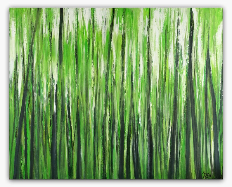 Jaune Moderne De Peinture Abstraite Peinture Vert Forêt Etsy