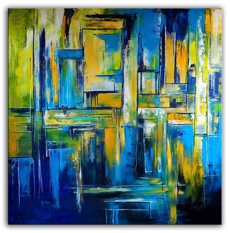 Abstract Mural Xxl 180x180 Abstract Painting Blue Green Yellow Etsy