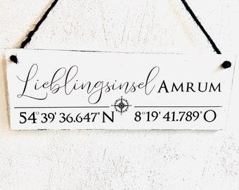 AMRUM Wooden Sign Door Sign Amrum Favorite Island North Sea Coordinates
