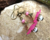 Earrings, flowers, vintage, bronze, yellow, pink, Luci, glass beads, romantic, playful