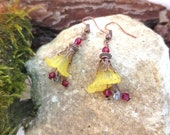 Earrings, pierced, yellow, red, copper, Luci, glass beads, romantic, playful