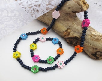 1 satz Holz Perlen Marienkäfer Halskette Armband kinder geschenk
