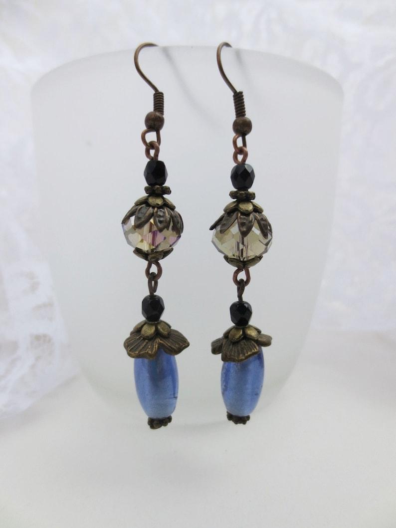 handmade black pearls bronze unique Vintage earrings very long earrings blue