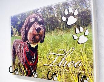 Hundegarderobe mit persönlichem Foto und Namen; Leinenhalter, Leinengarderobe, Leinenparkplatz