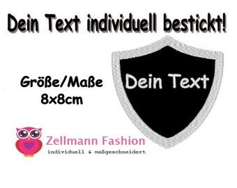 Wappen Wunschtext Aufnäher 8x8cm DEIN TEXT Patch 1 Zeile Bestickt