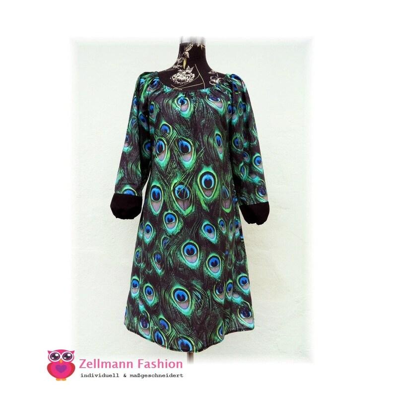 6f96dee456 Długi rękaw sukienka Paw pióra Drukuj zielony niebieskie buty