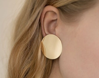 9f1530941 Large Gold Disc Stud Circle Earrings - Minimal Geometric Jewelry For Women  - 14K Gold Plated Sterling Silver