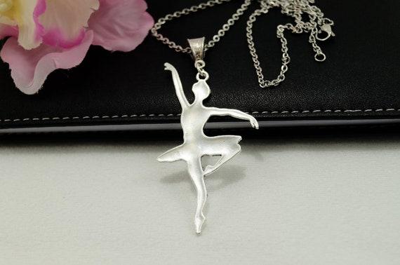 Halskette Ballerina Ballett Kette Anhänger Silber Tanzen Ballettkette Tutu Spitzenschuh Silhouette Silberkette mit Kettenanhänger Tänzerin