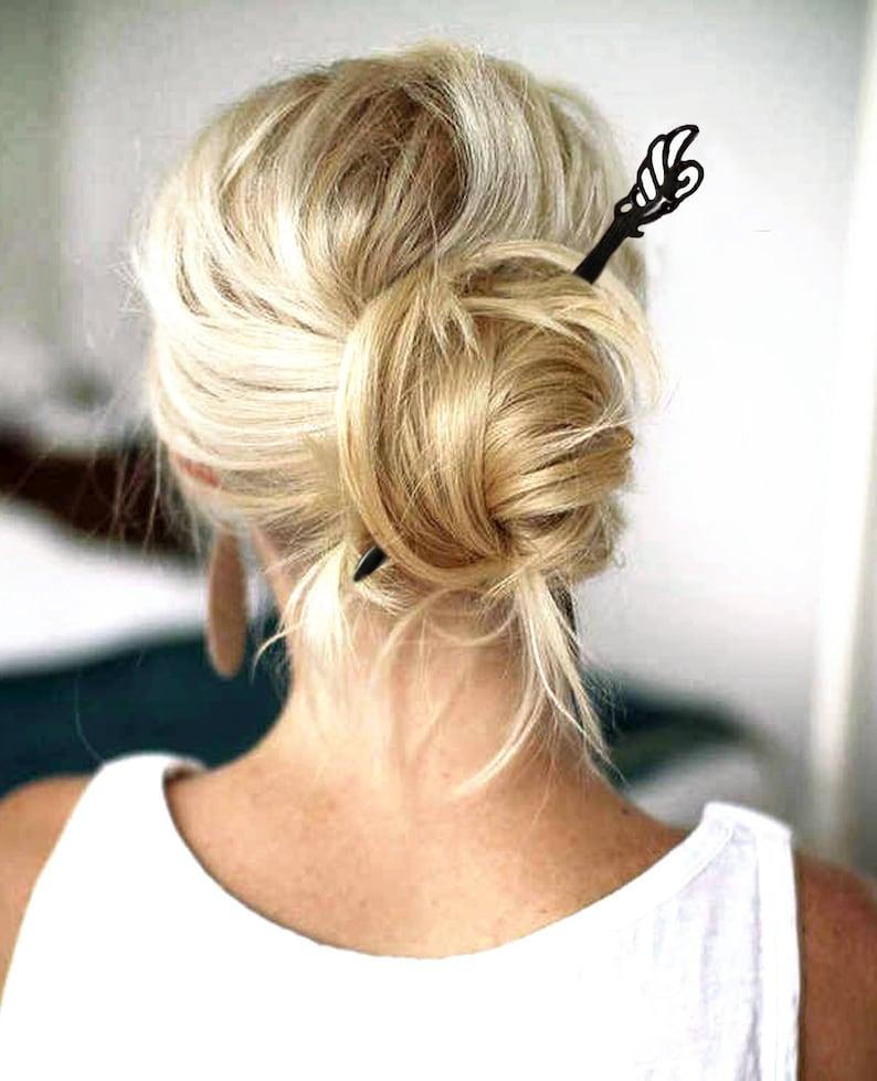 Haarstab 18 Cm Holz Schwarz Braun Haarnadel Haarschmuck Natur Schmetterling Naturholz Sandelholz Elegant Frisur Haarspange Haarklammer