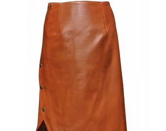 630ad49ff6 Cognac brown leather skirt