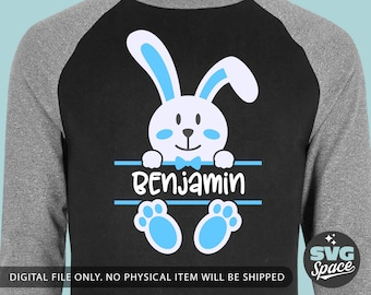 755ab674a Easter Boy Svg Baby Bunny Split Frame Svg Boy Shirt Svg Add Baby Name,  Cricut, Silhouette dxf svg Cut File, Printing Design, Iron on Image
