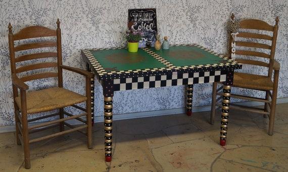 Großer Ausziehbarer Esstisch Küchentisch Holztisch Gartentisch Konsolentisch Handpaint Unikat