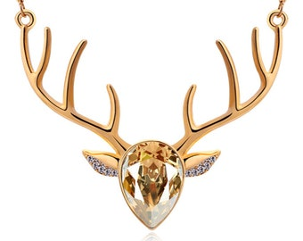 Necklace, gold chain, Rehkette, deer necklace, jewelry, gold, red, pink, turkies